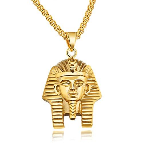 OPK Stainless Steel Egyptian Pharaoh Tutankhamun Pendant Necklace for Men, Golden/Silvery, 23.62