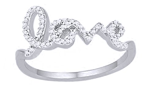 Cursive Love Promise Ring - AFFY White Natural Diamond Cursive Love Ring in Solid White Gold (0.16 Ct)