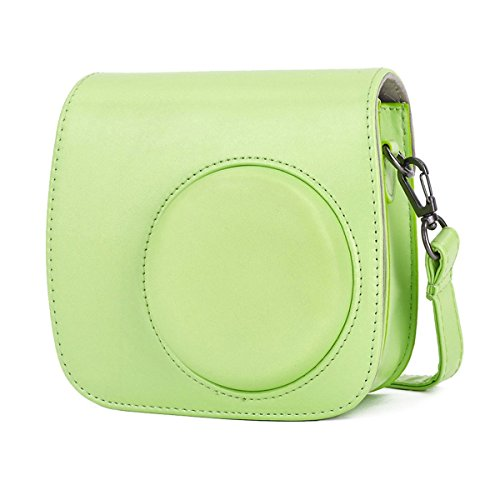 Phetium Lime Green Protective Case for Fujifilm Instax Mini 9 Mini 8 Mini 8+, Soft PU Leather Bag with Pocket and Removable Shoulder Strap(Lime Green)