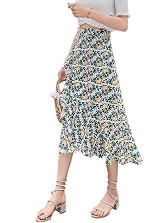 Women's Asymmetrical Skirt Floral Pattern Aline Mermaid Skirt