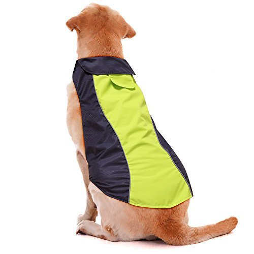 Illumifun Dog Coat Waterproof Nylon Fabric Dog Jacket with Soft Fleece Lining Reflective Dog Raincoat For Medium Dogs(M, - Dog Collars Fleece Lined