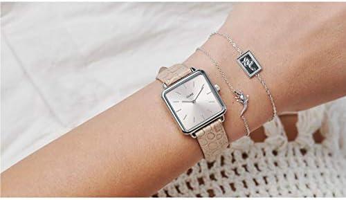 Cluse Women's La Ttragone 28mm Leather Band Brass Case Quartz Watch CL60019