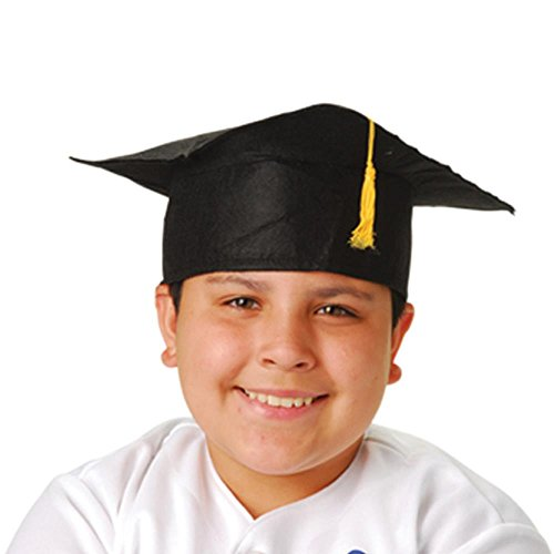 Child Size Graduation Caps - Black Felt, 12-Pack -