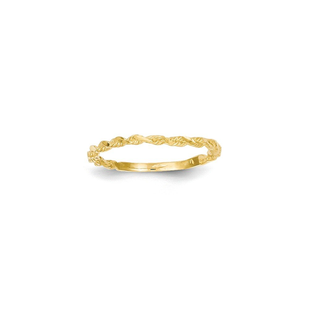 Jewels By Lux 14K Diamond-cut Textured Rope Band Ring