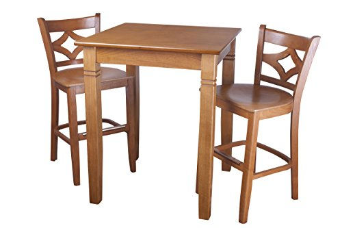 Beechwood Mountain PB-023B24W-C 3Piece Solid Beech Wood Pub Set for Kitchen & Dining, Cherry