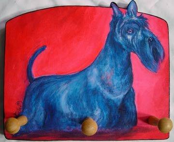Ines Miller Fine Art Scottish Terrier Dog Key Handmade dog Leash Rack Holder 8