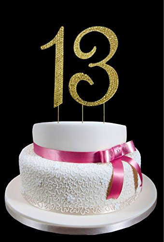Large Gold Rhinestone Number 13th Birthday Wedding Anniversary Cake Topper With Sparkling Crystals