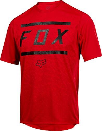 Fox Head Ranger Bars Short Sleeve MTB Bike Jersey (Bars Bright Red, Large)