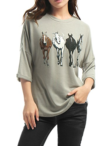 Horse Print Shirt - Allegra K Woman Drop 3/4 Sleeves Horse Print Tunic Loose Top M Grey