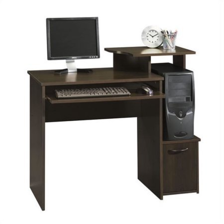 (Office Wood Computer Desk in Cinnamon Cherry, Levated Monitor/Printer Shelf, Slide-Out Keyboard/Mouse Shelf with Metal Runners and Safety Stops, Dedicated CPU Stand Storage for Vertical Tower)