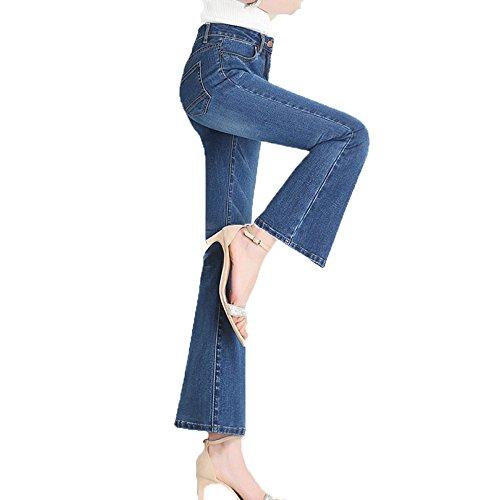 45 Flare Ladies Blue5 ADEMI Croppedpants Jeans Zip Jeans Up Stretchy Haute Femmes Pants pour Taille YqvnH6xRqg