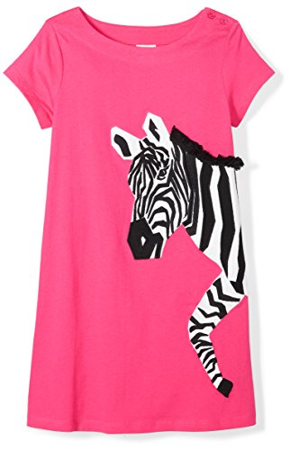 Spotted Zebra Little Girls' Knit Short-Sleeve A-Line T-Shirt Dresses, Zebra, Small (6-7) (Girls Zebra Dress)