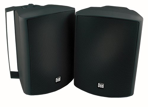 - Dual Electronics LU53PB 3-Way High Performance Outdoor Indoor Speakers with Powerful Bass | Effortless Mounting Swivel Brackets | All Weather Resistance | Expansive Stereo Sound Coverage | Sold in Pairs