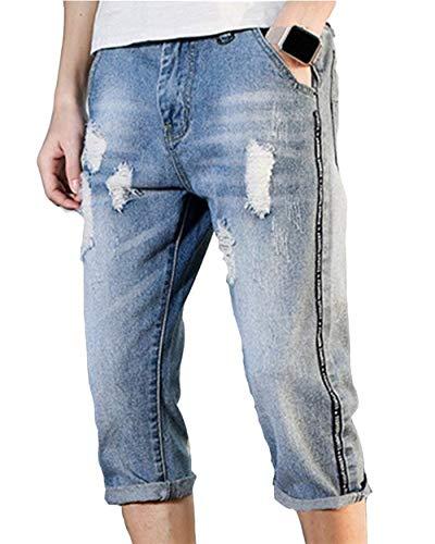 Jeans Di Larghi Denim Casual Da Uomo Corti Blau lannister Allentati In Pantaloni Ragazzo Qk Strappati UW4FnIOxn