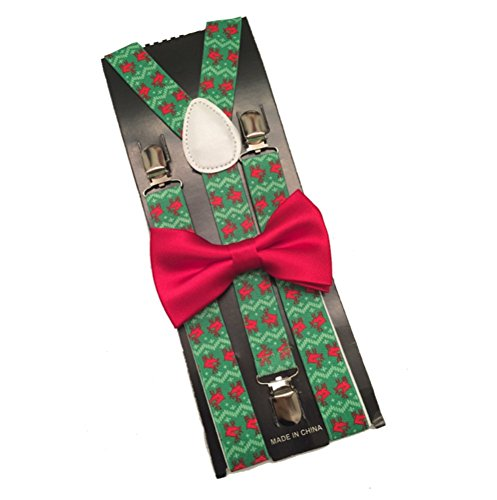 Christmas Suspender and Bow ties Set Combo Mens - Baby Suspenders Lime Green