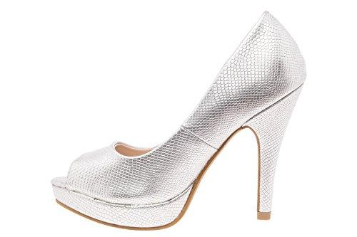 Con Machado Silver Mujer Engraved Tacón Andres Zapatos EHwqq8