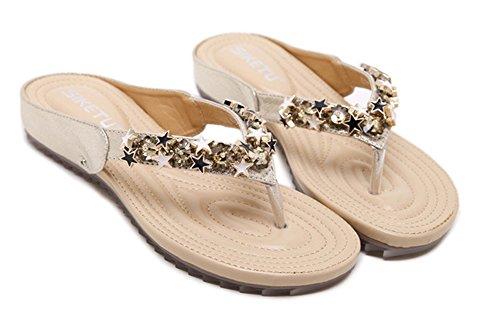 Aisun Etoiles Femme Flip Flops Mules Métal Fashion Or zw4nSAPzq