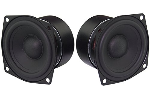 Full Range Loudspeaker, Yeeco 2.5 Inch 4Ohm HiFi Stereo Audio Speaker 5-10W 88dB Full-ranged Bookshelf Speaker for Car Audio DIY Bluetooth Speakers Tweeters, Pack of 2