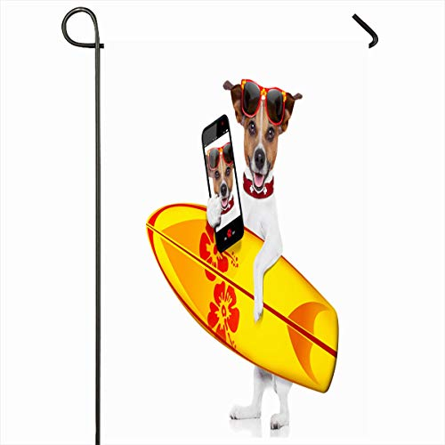 - Ahawoso Seasonal Garden Flag 12x18 Inches Selfie Silly Funny Cool Surfer Dog Holding Pet Sports Recreation Jack Hawaii Russell Funky Design Home Decorative Outdoor Double Sided House Yard Sign