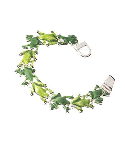 Jewelry Nexus Silvertone Green Frog Theme Magnetic Clasp Bracelet