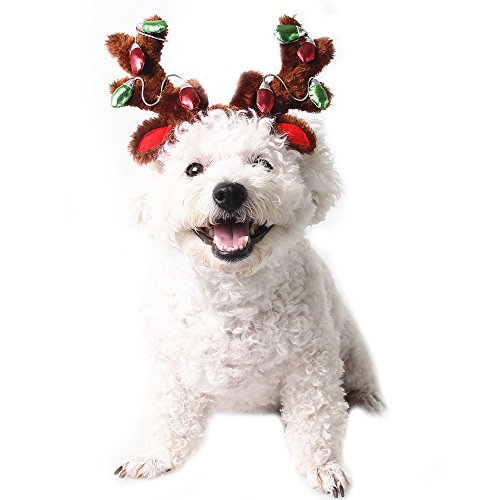 Dog Elk Reindeer Antler Hat Cap Bling Dog Cat Pet Christmas Costume Outfits Small Dog Headwear Hair Grooming Accessories (S, - Costume Pet Antlers