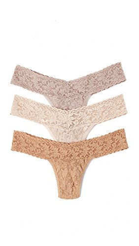 Hanky Panky Women's 3 Pack Signature Lace Neutral Thongs, Neutral, Tan, One Size