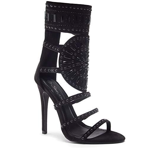 Herstyle Women's Fashion Crowd- Stiletto Heel, Jeweled Embellishment Black/Black ()