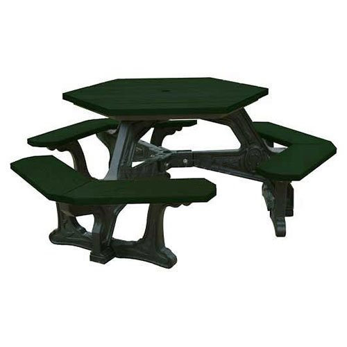 Plaza Hex Table, Green Top/Black Frame