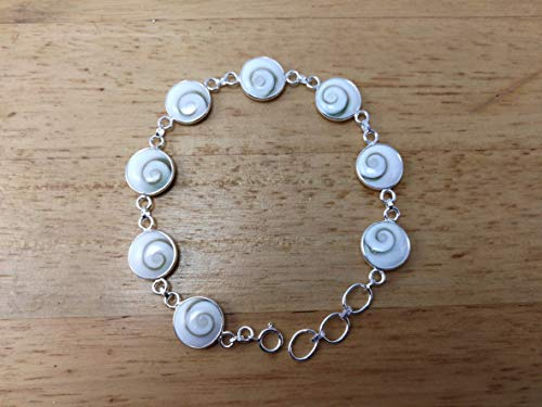 Natural Shiva Eye Shell Bracelet Size 7-7.5 inches, 925 Sterling Silver with Shiva Shell Size 12 mm,BSR