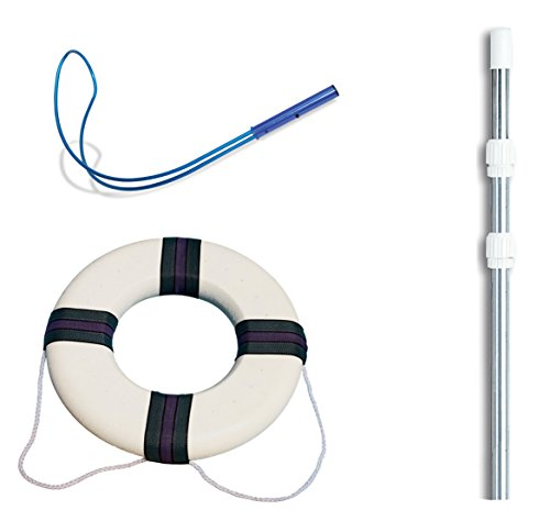 Swimline Hydrotools 89900 Pool Emergency Safety Hook w/ 4-12' Pole + Life Ring