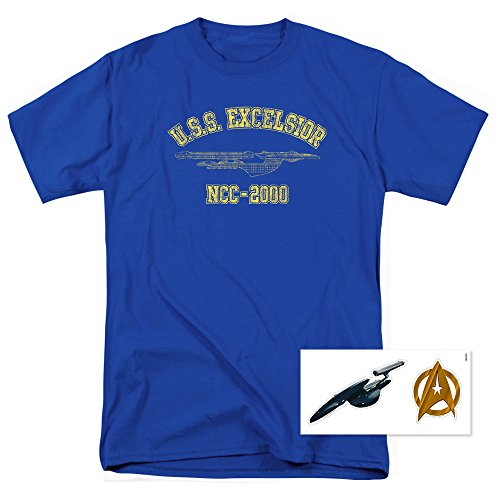 Popfunk Star Trek III: The Search for Spock U.S.S. Excelsior Athletic T Shirt & Stickers (XX-Large) Royal Blue