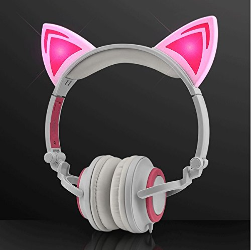 Price comparison product image Pink LED Kitty Cat Animal Ears Headphones by Blinkee