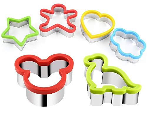 Stainless Steel Sandwiches Cutter, Mickey Mouse & Dinosaur Cookie cutter & Star Flower Heart People Shapes Biscuit Cutter -Food Grade Biscuit Mold Cookie Cutter for Kids Suitable for Cakes and Cookie by stbeyond