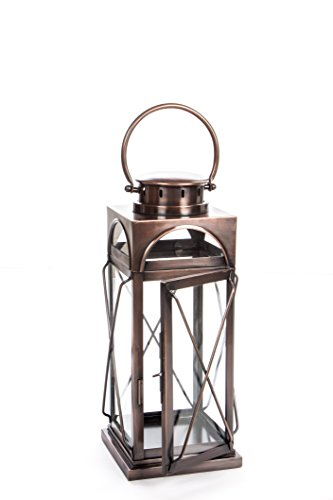 (H Potter Decorative Lantern & Candle Holder - Outdoor Indoor Light Centerpiece with Antique Copper Finish & Glass - Stunning Décor for Home, Wedding, Parties - GAR609 (Small))