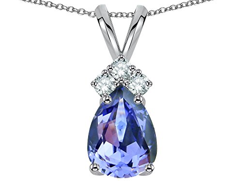 Star K Pear Shape 8x6mm Genuine Tanzanite Rabbit Ear Pendant Necklace 14 kt White Gold