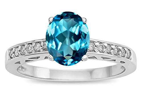 (Star K Oval 8x6 Genuine Blue Topaz Channel Set Engagement Promise Ring 10 kt White Gold Size 8.5 )