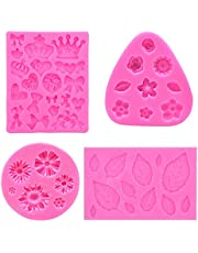 4 Pcs Fondant Cake Silicone Molds, CILLIFE Daisy Chrysanthemum+ Narcissus Rose Small Flowers+ Leaves+ Crown Bow Heart Mini Shaped Mold for Candy Chocolate Cupcake Decorating Baking Soap Crafting