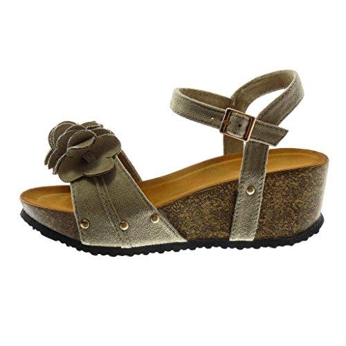 Angkorly Damen Schuhe Sandalen Mule - Knöchelriemen - Plateauschuhe - Blumen - mit Rüschen - Kork Keilabsatz High Heel 6 cm Grau