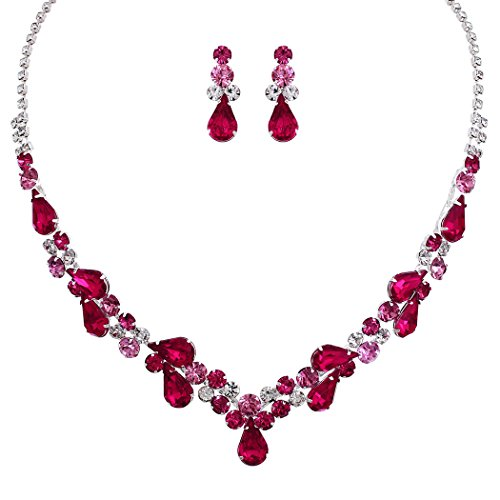 Rosemarie Collections Women's Rhinestone Teardrop Statement Necklace Drop Earrings Set (Silver Tone/Fuchsia Pink) - Jewelry Pink Rhinestone