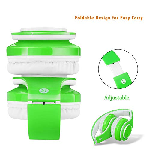 Kabellose Bluetooth Kopfhörer für Kinder Jugendliche ab 5 Kabelloser Kopfhörer Over Ear mit Lautstärkebegrenzung inkl. Radio on Ear drahtloser Faltbarer Kopfhörer mit Mikrofon HiFi Stereo (Grün)