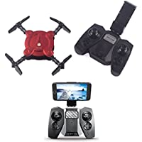 YouCute YC0092T WIFI FPV Pocket Foldable drone with Camera Altitude hold mode RTF (Red with transmitter)