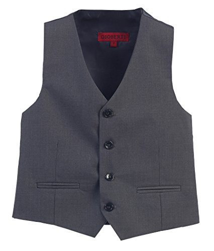 Gioberti Boy's 4 Button Formal Suit Vest, Charcoal, Size 7 by Gioberti