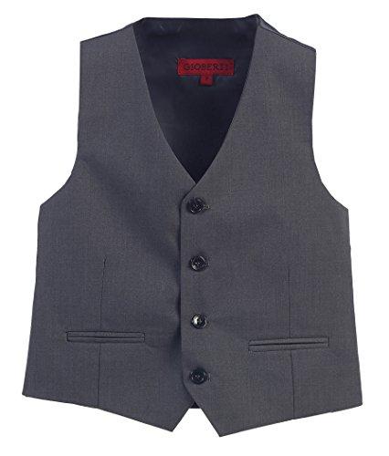 Gioberti Boy's 4 Button Formal Suit Vest, Charcoal, Size 16 (Boys 14 16 Vest)