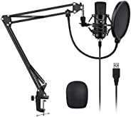 YOTTO USB Microphone Cardioid Condenser Mic 192KHz/24bit Plug and Play Professional Studio Podcast Microphone