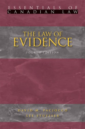 The Law of Evidence (Essentials of Canadian Law)