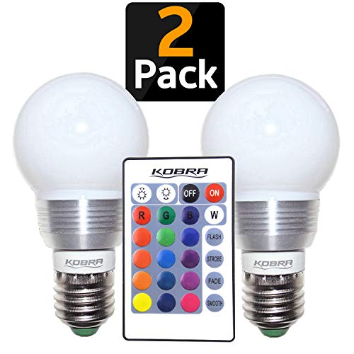 Kobra LED Color Changing Light Bulb with Remote Control - 16 Different Color Choices Smooth, Fade, Flash or Strobe Mode - Smart Remote Lightbulb - RGB & Multi Colored - Makes a Perfect Gift -