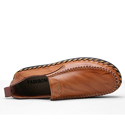Lapens Mens Driving Shoes Leather Fashion Slipper Casual Slip On Loafers Shoes Brown T3JaeKw4