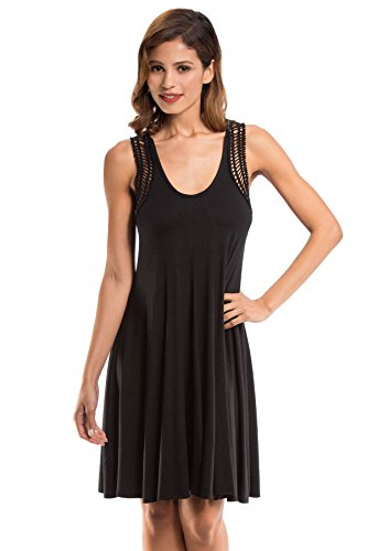 Robin Piccone Women's Laurel Tank Dress Swim Cover Up Black M