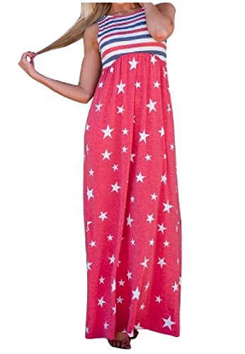 Day Women Baggy Waist Coolred Dress Independence Sleeveless As4 Pockets Elastic xnAwT6ETF