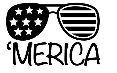 Merica Sunglasses Vinyl Decal Sticker | Cars Trucks Walls Vans Windows Laptops | Black | 5.5 X 3.7 Inches | - Sunglasses Logo Q